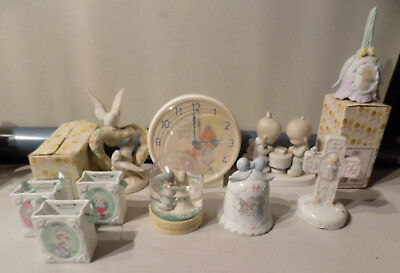 Vintage Lot 10 (4 New) Precious Mouments Clock Snow Globe  Prayer Figure Gift Ba