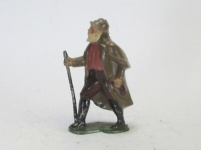 Britains larger scale French BF lead toy figure old man hiking with stick, cape