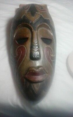 """interesting older possible African carved wooden mask large bout 15.5 x 7.5"""""""
