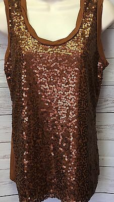 NWT New York & Co Women's S Brown Sequin and Mesh Front Sleeveless Knit Tank Top