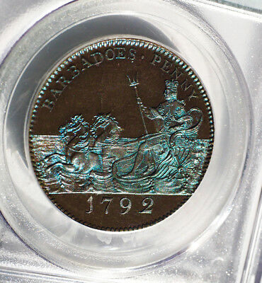Breathetaking 1792 Barbados Proof 1D. Pcgs Pf-64Bn Finest Known