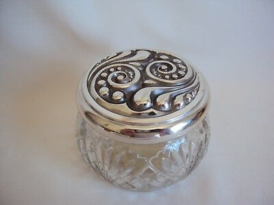 "Vintage Avon Silver Plated Vanity Powder Jar 2.75"" Tall"