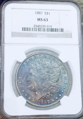 1887 Morgan Dollar NGC MS63 Blue and Pink Toning Very Clean