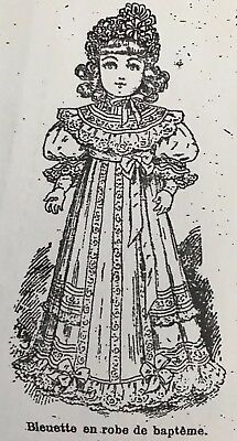 """10-11"""" Antique French Doll BLEUETTE 1905 Christening Gown Pattern repro German"""