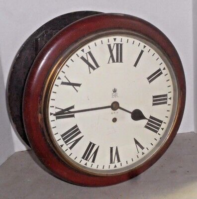 Rare G.p.o English Fusee 2 Sided Double Dial Post Office Clock Clean Working