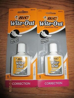2x BIC Wite/White Out Quick Dry Correction Fluid White Out Foam Brush .7oz
