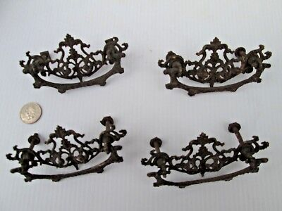 Set of 4 Vintage Ornate Brass Drawer Pulls Handles Pineapple? Did I Say Ornate?