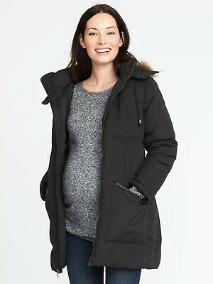 NWT Old Navy Maternity Hooded Frost-Free Parka,Black SIZE XL      #849532 E111
