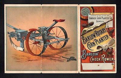 1870s BARLOW ROTARY CORN PLANTER CO - 3 Panel Trade Card Folder - Quincy IL