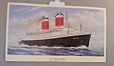 """CRUISE ART PRINT SS UNITED STATES Vintage Travel 14 X 25"""" HEAVY PAPER STOCK"""