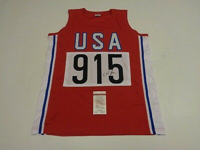 CARL LEWIS autographed signed Team USA Olympic red jersey JSA Witness