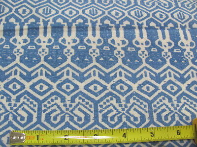 2 matching original cotton feed sack blue and off white Aztec type design