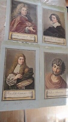 4 antique etching engravings carlo lasinio 1759-1838  hand colored old lot