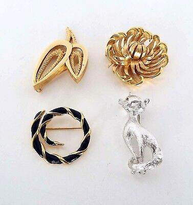 4 Piece Estate Lot Vintage Monet Brooches Cat Floral Mid Century Modern Art Deco