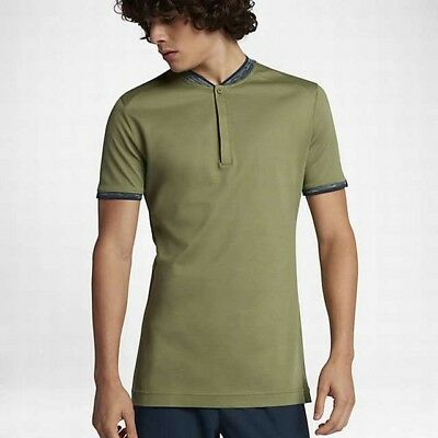 Men's Nike Tennis Court Roger Federer Mix Polo Shirt Size S NWT Olive $125 MSRP