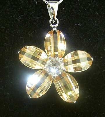 Large  Beautiful Sterling Silver 925 Cubic Zirconia Flower Pendant 10.9 grams