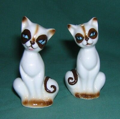 "Vintage Small SIAMESE CAT SALT & PEPPER SHAKERS Bone China 2-1/2"" Excellent Cond"