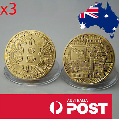 **3 Pack** Gold Plated Bitcoin Novelty Coin