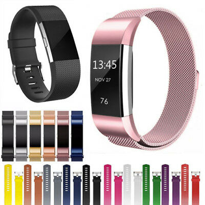 Luxury Stainless Steel Loop Silicone WristWatch Band For Fitbit Charge 2 Strap