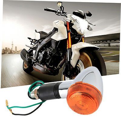 4x Amber Chrome Motorcycle Bullet Front Rear Turn Signal Indicator Light FK
