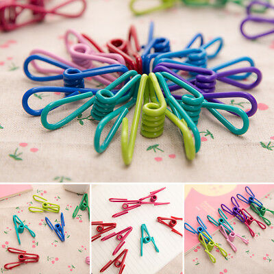 10x Metal Clamp Clothes Laundry Hanger Strong Grip Washing Line Pin Pegs Clips
