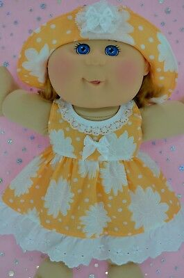 """Play n Wear Doll Clothes To Fit 14"""" Cabbage Patch ORANGE/WHITE FLOWER DRESS~HAT"""