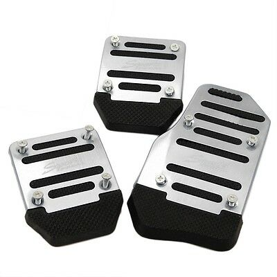 3pcs Silver Car Vehicle Non-slip Alloy Pad Pedal Aluminium Foot Treadle Cover FK