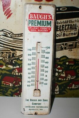 Vintage Farm Thermometer, Baugh's Premium, Ohio Advertising Sign, Country Store