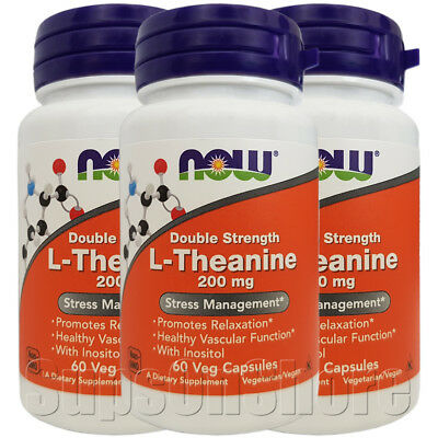 3 x Now Foods - Double Strength L-Theanine - 200 mg - 60 Veg Capsules (180)