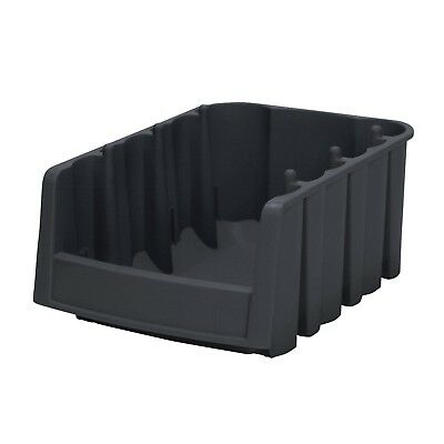 Economy Stacking Nesting Plastic Storage Bin Interior Corners Black Case of 10