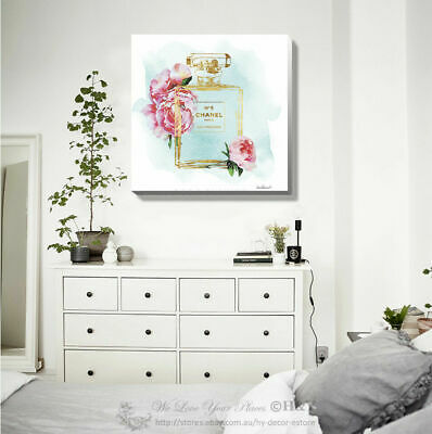 Flower Gold Perfume Stretched Canvas Print Framed Wall Art Home Office Decor DIY