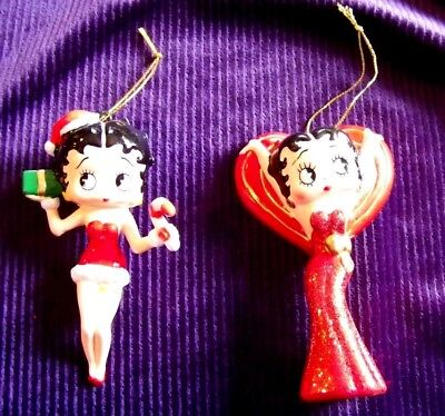 2 Vintage Betty Boop Christmas Ornaments