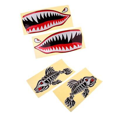 4 Pieces Skeleton Fish Bone and Shark Mouth Decals Stickers for Kayak Boat