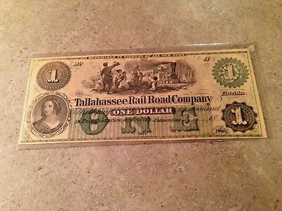 Tallahassee Rail Road Company Florida $ ONE DOLLAR Obsolete Banknote Unissued