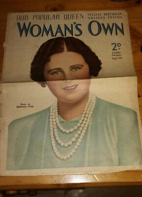 Womans Own Magazine Aug 12 Th 1939 Very Late Issue As It Ended  1939 ?