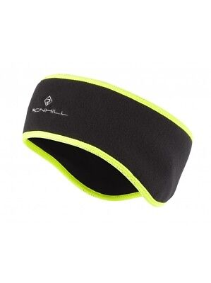 Ronhill Run Headband  Running Jogging Walking (Black/Fluo Yellow) RRP £12.00
