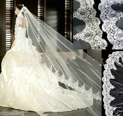 new luxury Cathedral Veil Bridal wedding Headpiece mantilla ivory white lace A++