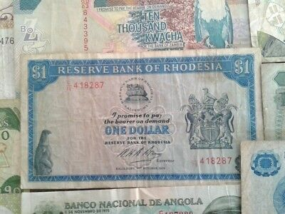 Rhodesia 1 Dollar 1974 Plus 24 Assorted Banknotes from Africa   #KCS
