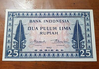 Indonesia 25 Rupiah 1952 XF+ Original Strong Paper