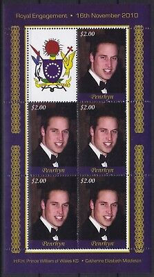 Penrhyn Mi-Nr. 619 KB / Sheet **, Prince William & Kate Middleton (18 ME)