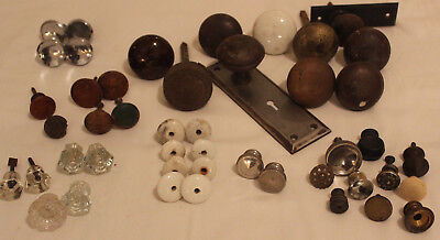 Antique Door knob LOT Brass Glass Wood Porcelain Steel All sizes