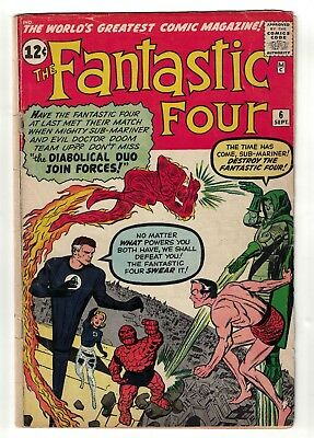 Marvel comics Fantastic four 6 VG 4.0 1962 5.5 Dr Doom sub mariner Namor
