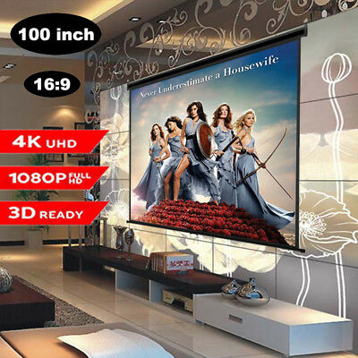 100Zoll Beamer Rolloleinwand Heimkino Screen Manual Pull Down 16:9 3D 4K 1080P