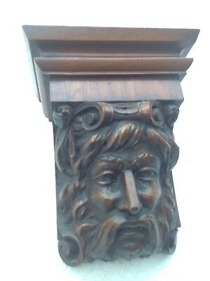 Antique Oak Large Carved Bearded Man-Norseman Architectural Salvage Pediment 11""