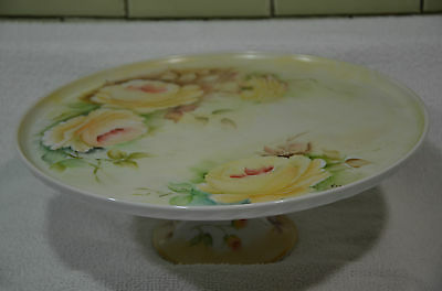 """Vintage French Cake Plate Stand Porcelain  Hand Painted Roses 11.25"""""""