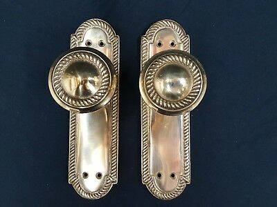 Georgian Style Solid Brass Door Knobs on Blackplate -  (3/5 avail in our shop)