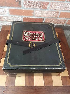 Vintage Churchill Hats Ltd Hat Box Black with Gold Colored Graphics