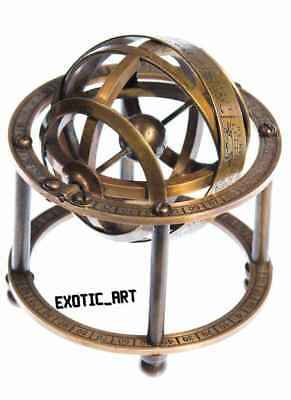 Antique Vintage Style Solid Brass Armillary Sphere Tabletop Astrolabe Globe