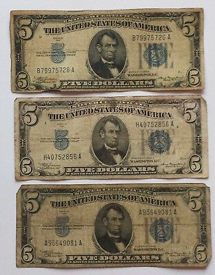 1934 Circulated Five Dollar ($5) Silver Certificate Bills (Lot of 3)