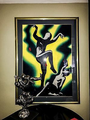 Large Beautiful Rare Original Mark Kostabi Painting On Paper  Signed Framed.